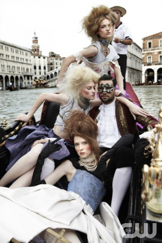 """Margherita Missoni"" -- The girls pose in their first group photo shoot on a gondola on America's Next Top Model on The CW. Pictured from top: Ann, Chelsey and Jane Cycle 15 Photo: Simone Falcetta/Pottle Productions Inc ©2010 Pottle Productions Inc. All Rights Reserved."