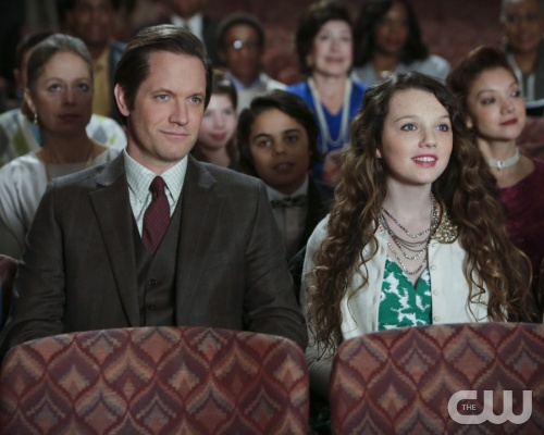 "The Carrie Diaries -- ""Caught"" -- Pictured (L-R): Matt Letscher as Tom and Stefania Owen as Dorrit -- Image Number: CD107b_0277b.jpg -- Photo: Patrick Harbron/The CW -- © 2013 The CW Network, LLC. All rights reserved."
