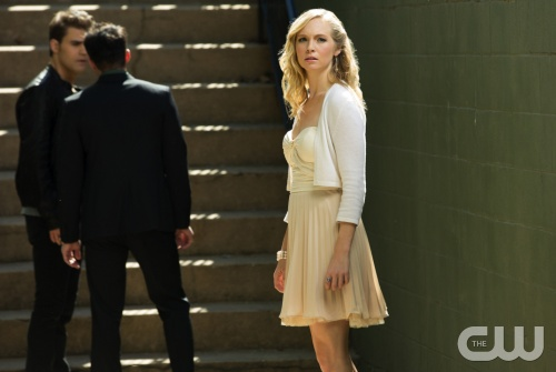 "The Vampire Diaries -- ""O Come, All Ye Faithful"" -- Pictured (L-R): Paul Wesley as Stefan, Michael Trevino as Tyler, and Candice Accola as Caroline -- Image Number: VD409a_0103.jpg -- Photo: Bob Mahoney/The CW -- © 2012 The CW Network, LLC. All rights reserved."