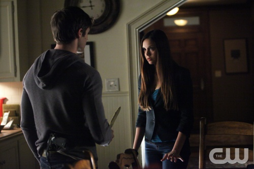 "The Vampire Diaries -- ""Catch Me If You Can"" -- Pictured (L-R): Steven R. McQueen as Jeremy and Nina Dobrev as Elena -- Image Number: VD411a_061.jpg -- Photo: Annette Brown/The CW -- © 2013 The CW Network, LLC. All rights reserved."
