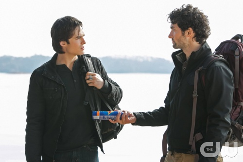 The Vampire Diaries -- &quot;Into the Wild&quot; -- Pictured (L-R): Ian Somerhalder as Damon and David Alpay as Professor Shane -- Image Number: VD413b_0242.jpg -- Photo: Tina Rowden/The CW -- &copy; 2013 The CW Network, LLC. All rights reserved.