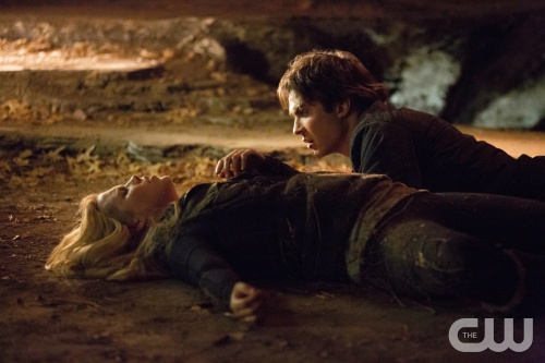 "The Vampire Diaries -- ""Down the Rabbit Hole"" -- Pictured (L-R): Claire Holt as Rebekah and Ian Somerhalder as Damon -- Image Number: VD414c_0681.jpg -- Photo: Bob Mahoney/The CW -- © 2013 The CW Network, LLC. All rights reserved."