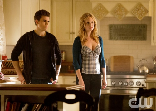 "The Vampire Diaries -- ""Stand by Me"" -- Pictured (L-R): Paul Wesley as Stefan and Candice Accola as Caroline -- Image Number: VD415b_0283.jpg -- Photo: Bob Mahoney/The CW -- © 2013 The CW Network, LLC. All rights reserved."